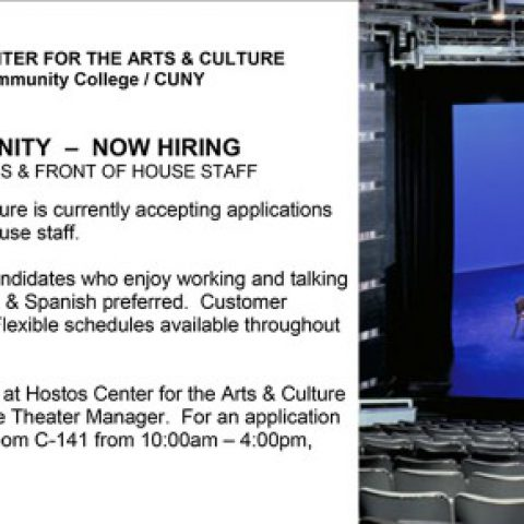 SUMMER JOBS – Theater ushers at Hostos