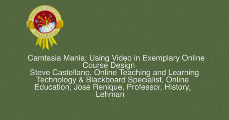 Camtasia Mania: Using Video in Exemplary Online Course Design 2014