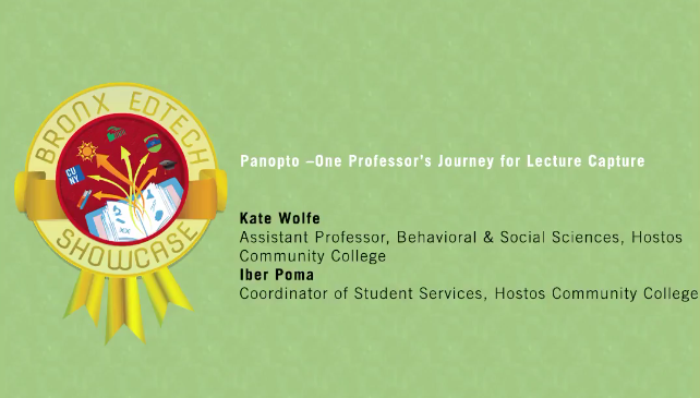 Panopto–One Professor's Journey for Lecture Capture 2016