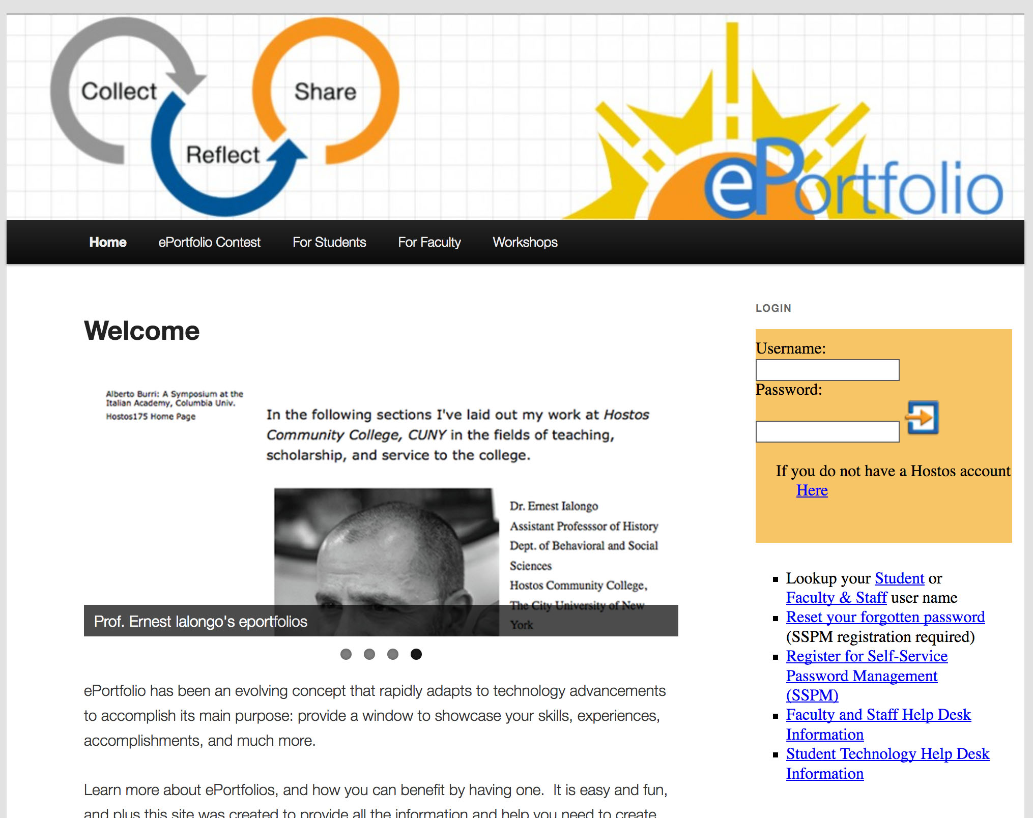 Hostos Digication ePortfolio login