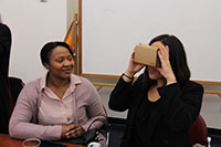2 faculty using virtual reality goggles
