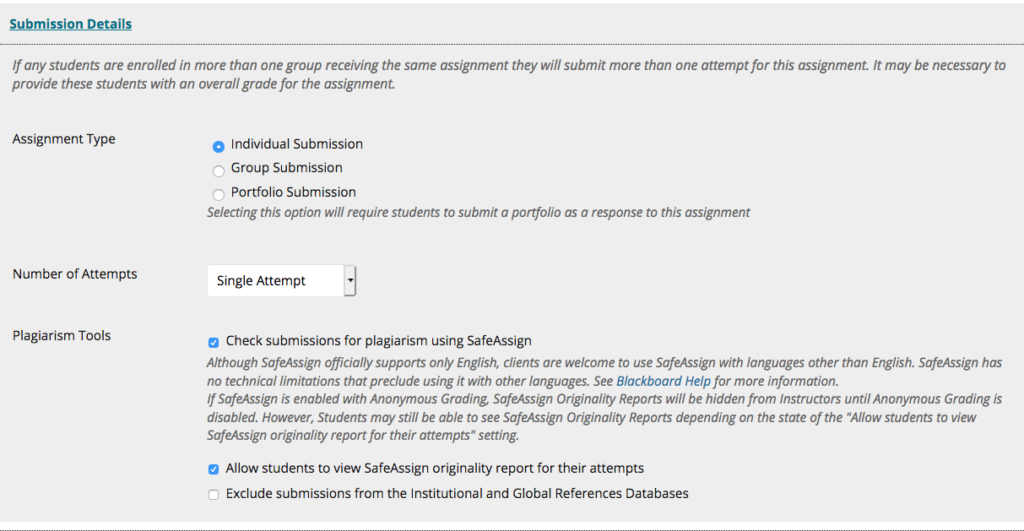 Creating SafeAssignment Assignments