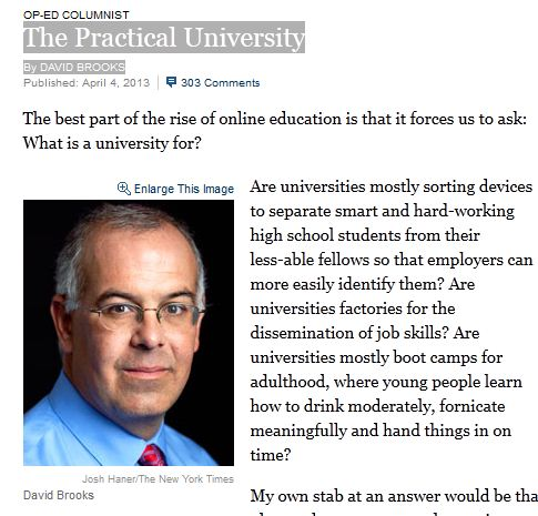 The Practical University By DAVID BROOKS