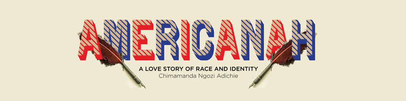 """A banner that reads, """"Americanah: A Love Story of Rae and Identity by Chimamanda Ngozi Adichie"""""""
