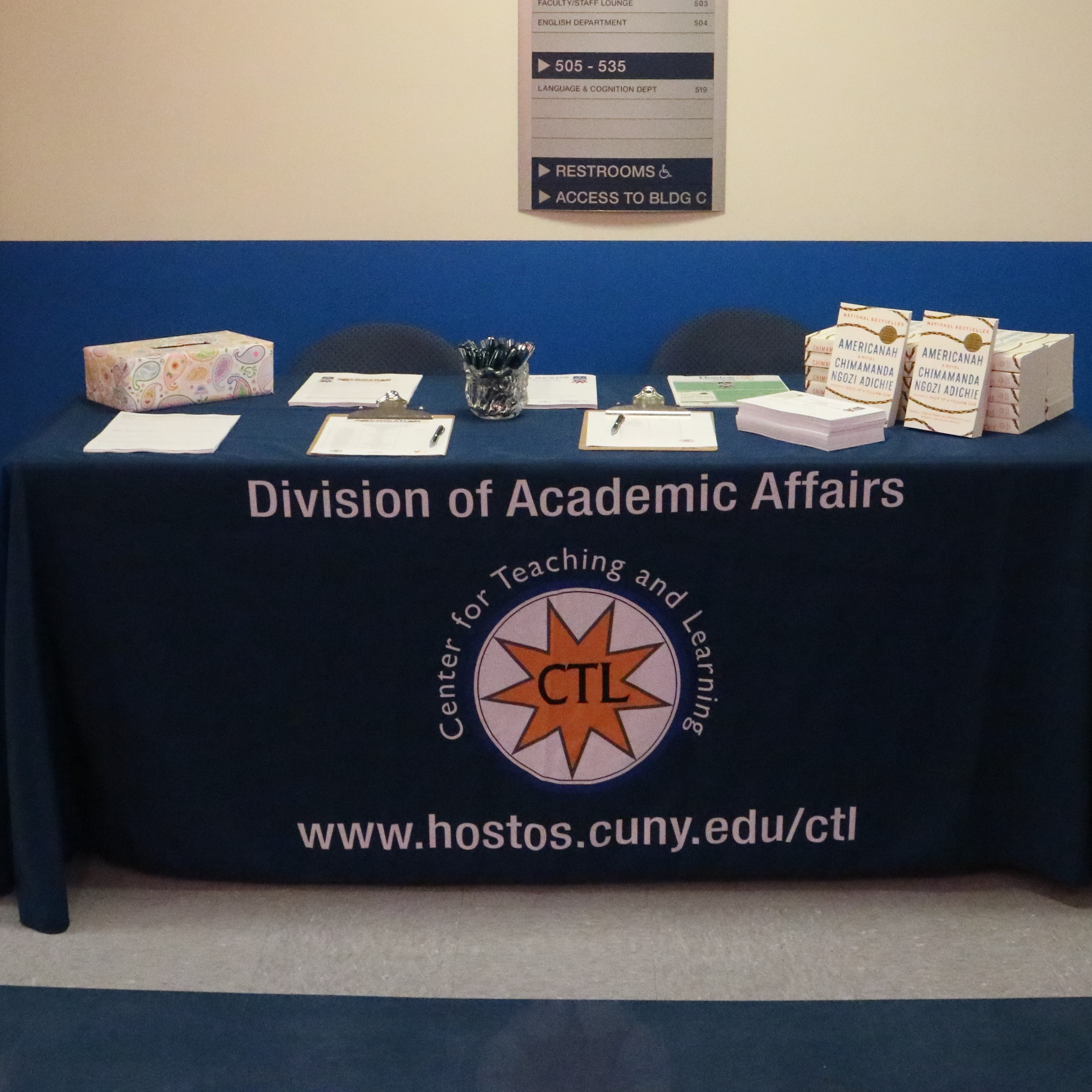 An image of the sign-in desk at an event